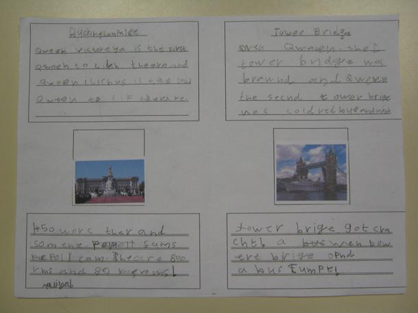 Some children created leaflets about London