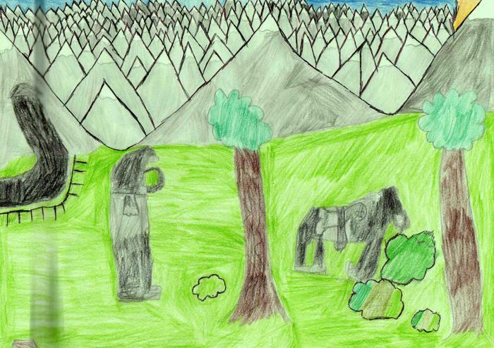 James' drawing of some mountain gorillas