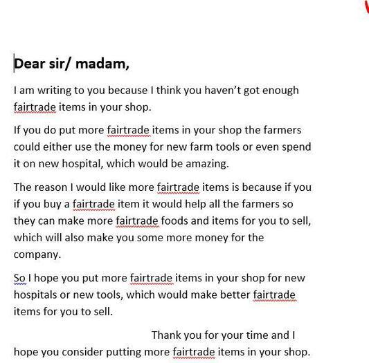 Selena's persuasive letter to a supermarket