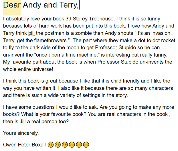 Owen's review of The 39-Storey Treehouse