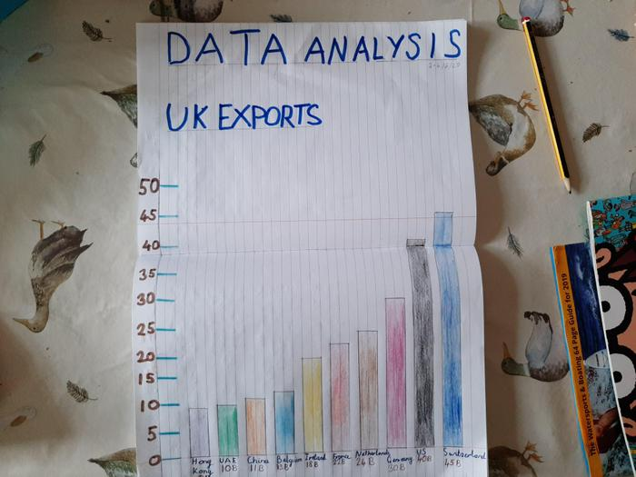 Lucas made a bar graph showing export data