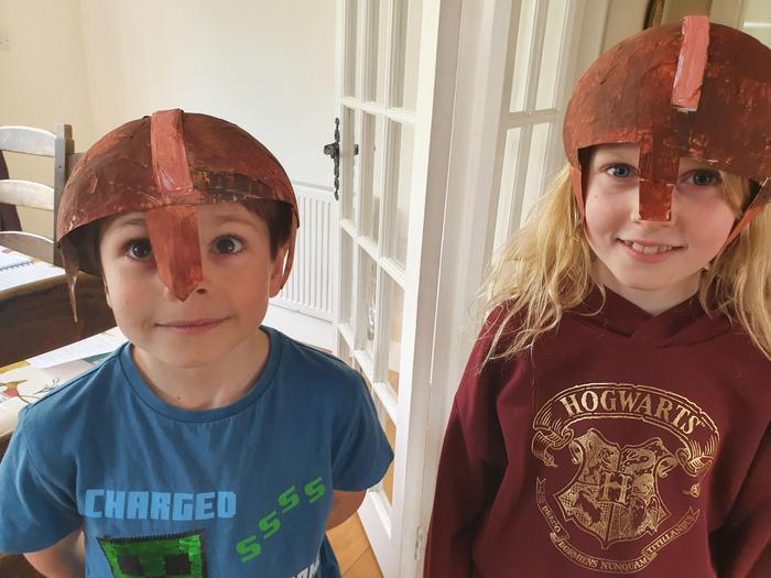 Lucy's Anglo Saxon helmet!