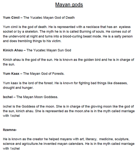 Max's research on the different Maya Gods