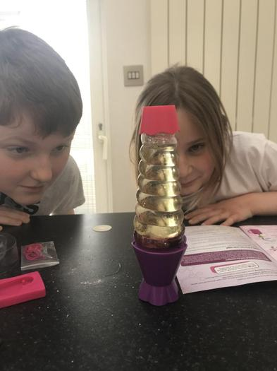Ben and sister creating a lava lamp
