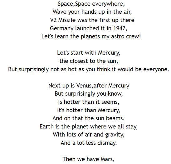 A fantastic space rap by Erin