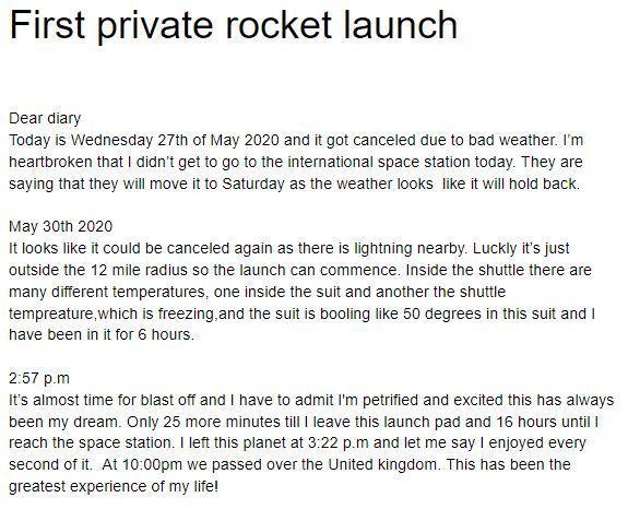 Ollie K's diary entry as an astronaut from Falcon