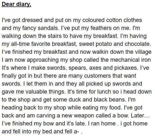 Max's diary entry as a noble