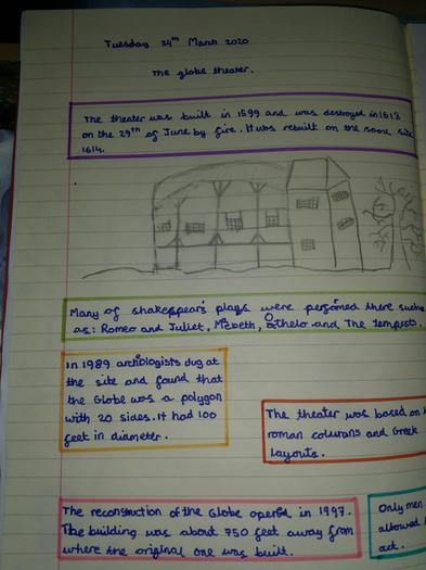 Emil's fact page about the Globe Theatre