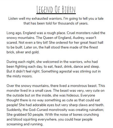 Katelin wrote a Viking Legend