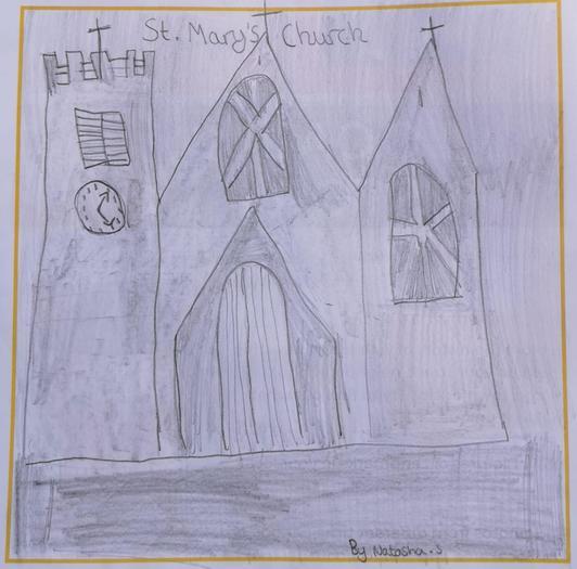 Natasha created this church drawing from Brownies