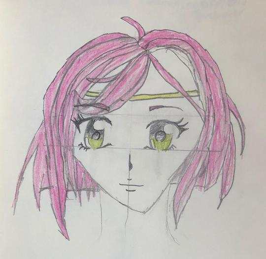 Xenia has been learning to draw Manga characters