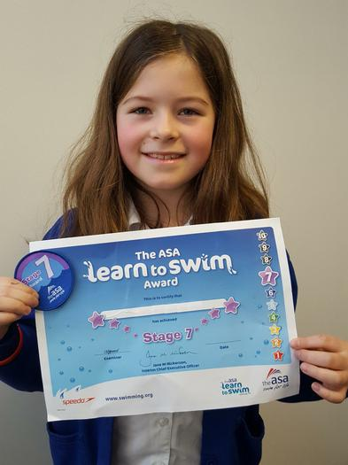 Swimming award LEVEL 7!