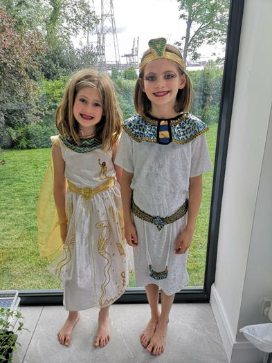 Natasha and Alex embracing Egyptian Day
