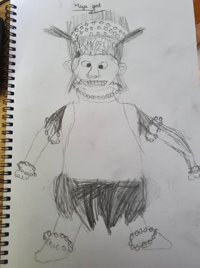 Ed W's drawing of a Maya God