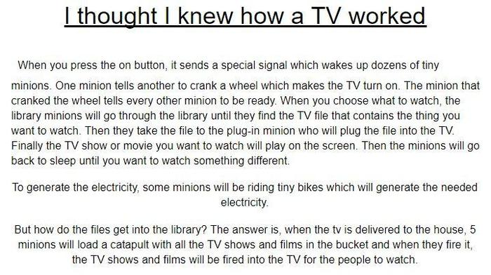 Owen imagined how a TV might work