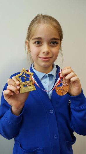 Amelia Gymnastics skills trophy + duet medal 3rd!