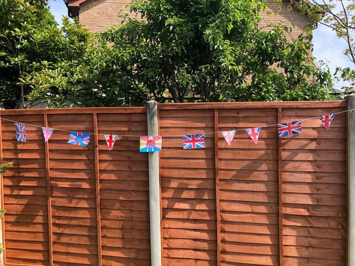 Samson decorated his fence for VE Day