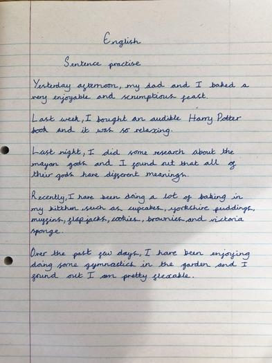 Chloe T's sentences with fronted adverbials