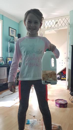 Chloe created a bird feeder