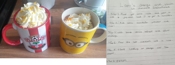 Leon designed an orange hot chocolate
