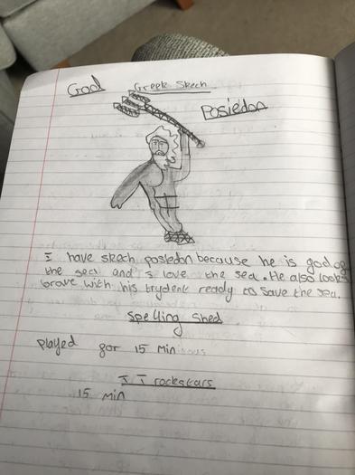 Alaina's Poseidon sketch.