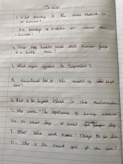 Can you complete Ben's quiz?