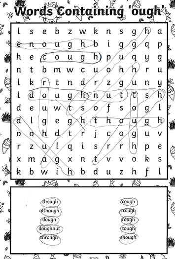 Finley had a go at the spelling wordsearch
