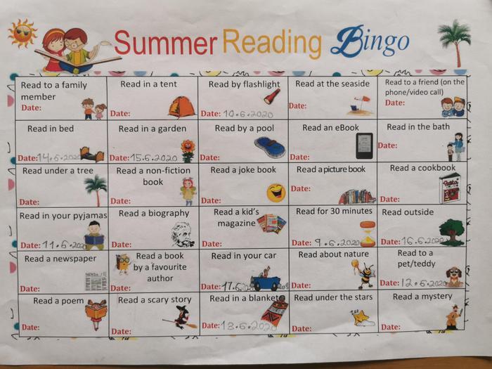 Oliwia has been doing the Summer Reading Bingo