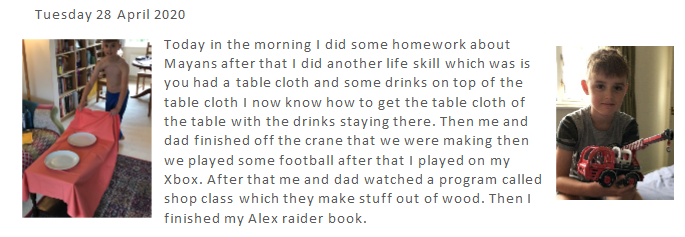 Ed has been keeping a Covid 19 diary