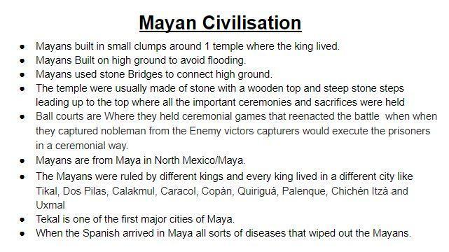 Zack's research about Maya civilisations