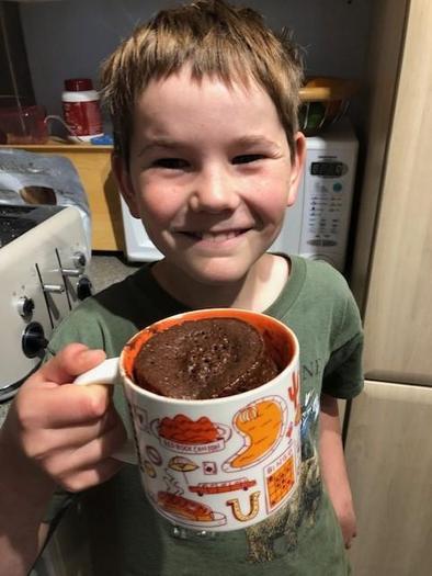 William made a delicious chocolate mug cake!