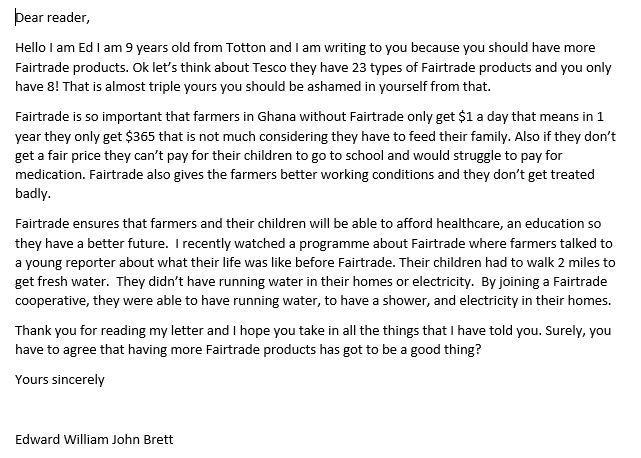 Ed's persuasive letter to a supermarket