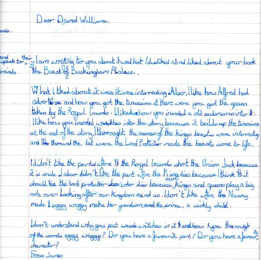 James's letter to David Walliams