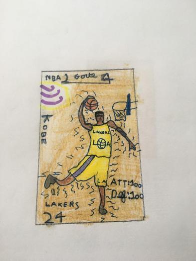 Austin designed a basketball card