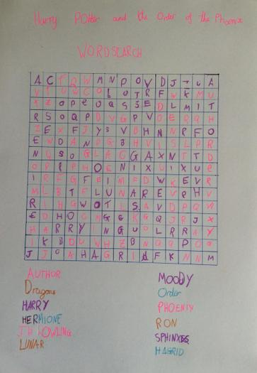 Vicky's Harry Potter wordsearch