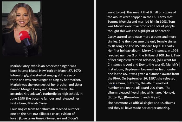 Chloe chose to write her biography on Mariah Carey