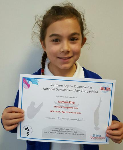 Jasmine - Trampolining competition - 9th!