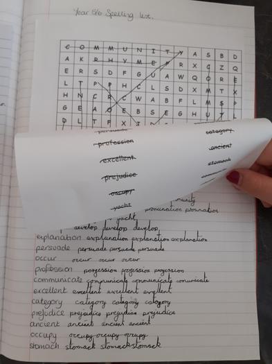 Jorja's spelling practise