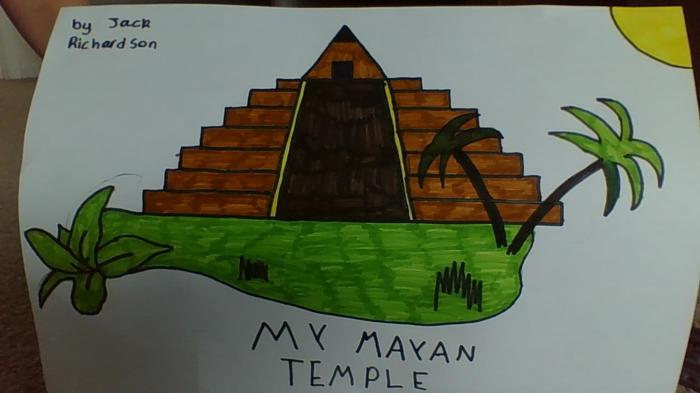 A drawing of a Maya temple by Jack