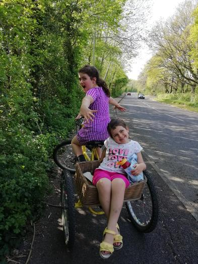 Aoife and her sister cycling!