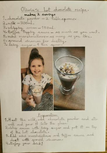 Oliwia's hot chocolate experiment