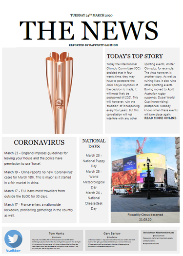 Rafferty created a newspaper front page