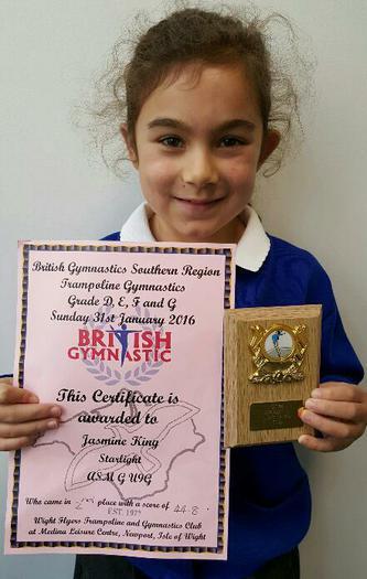 Jazmine(Y3)Gymnastics Trampoline Award. 2nd Place!