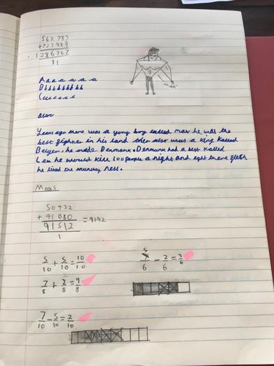 Austin's Viking story opening and maths practice