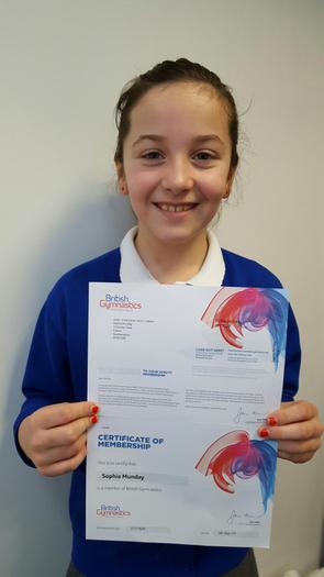 Sophia - member of British Gymnastics!