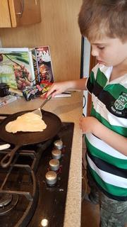 Josh making tortilla's, ready for his fajitas