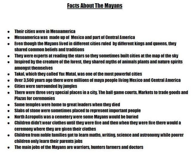 Kim's Maya Facts