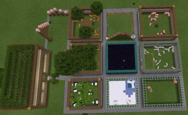 Betsy's Minecraft zoo from a birds eye view