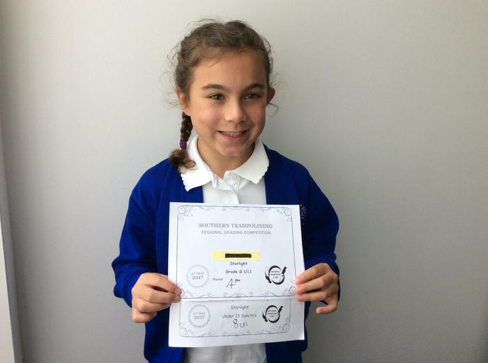 Jasmine - trampolining award!