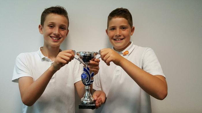 Evan+Lewis: U11 winners with S.Newton/ Wishford FC